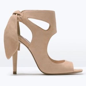 Zara nude suede high heels with ribbon